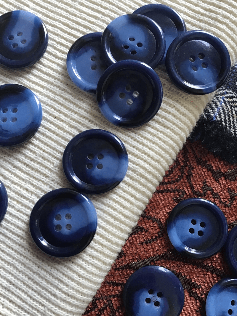 """Deep Ocean Blue Italian 4 Hole 1"""" (25mm) 40L Vintage Sewing Buttons #564"""