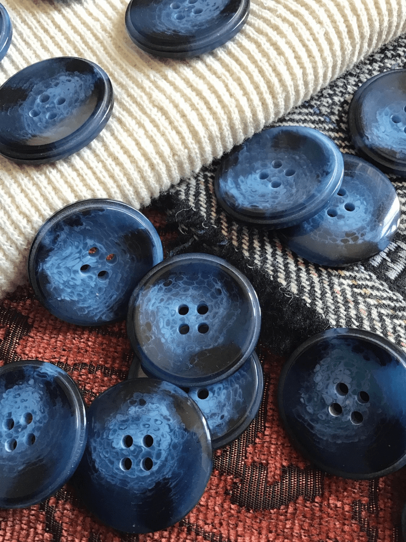 "Deep Sea Blue Italian 4 Hole 1-1/8"" (28mm) 44L Vintage Sewing Buttons #579"