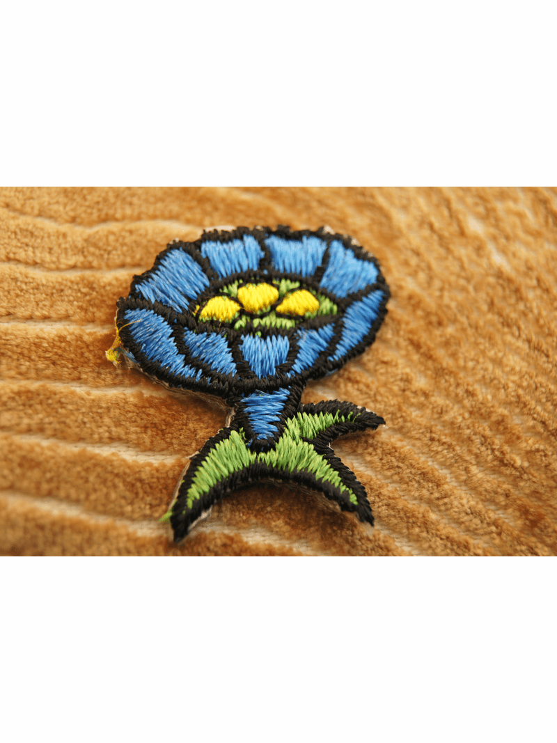 Designer Iron On Flower Applique with Blue, Yellow and Green # appliques-1046