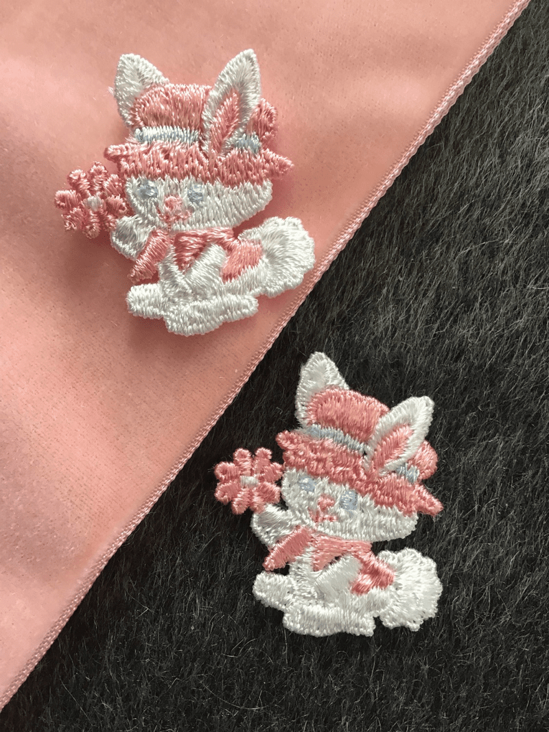 Easter Pink Blue and White Vintage Applique Sew-on Bunny Patch #5003