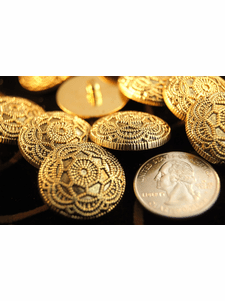 """Embossed Flower Shank Gold Vintage Buttons 1"""" inch (10 pcs)"""