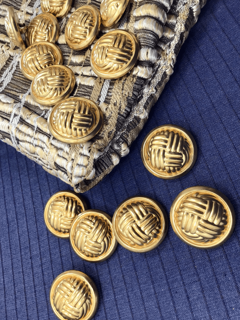 "Embossed Knot Gold Metallic Buttons 15/16"" (23mm) 36L Shank Buttons #1057"