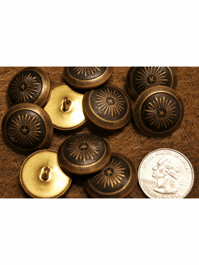 """Embossed Metal Shank Vintage Buttons ÷ 1"""" inch (8 pcs)"""