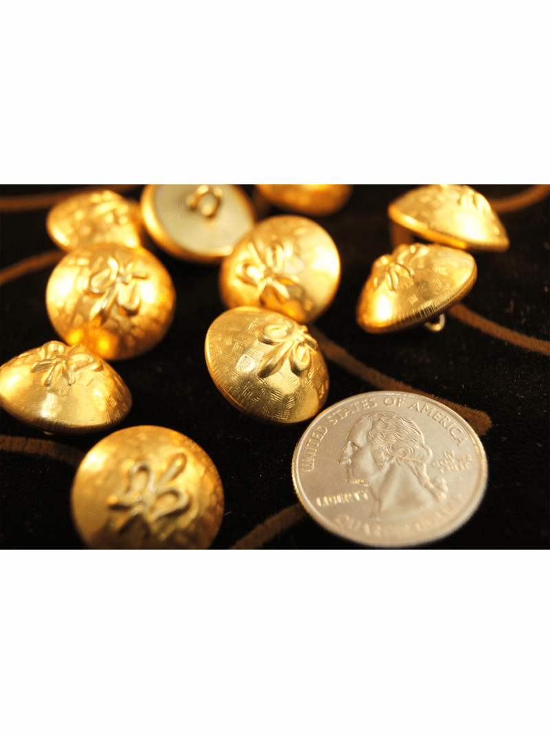 """Embossed Metal Vintage Shank Gold Buttons 11/16"""" inch (8 pcs)"""