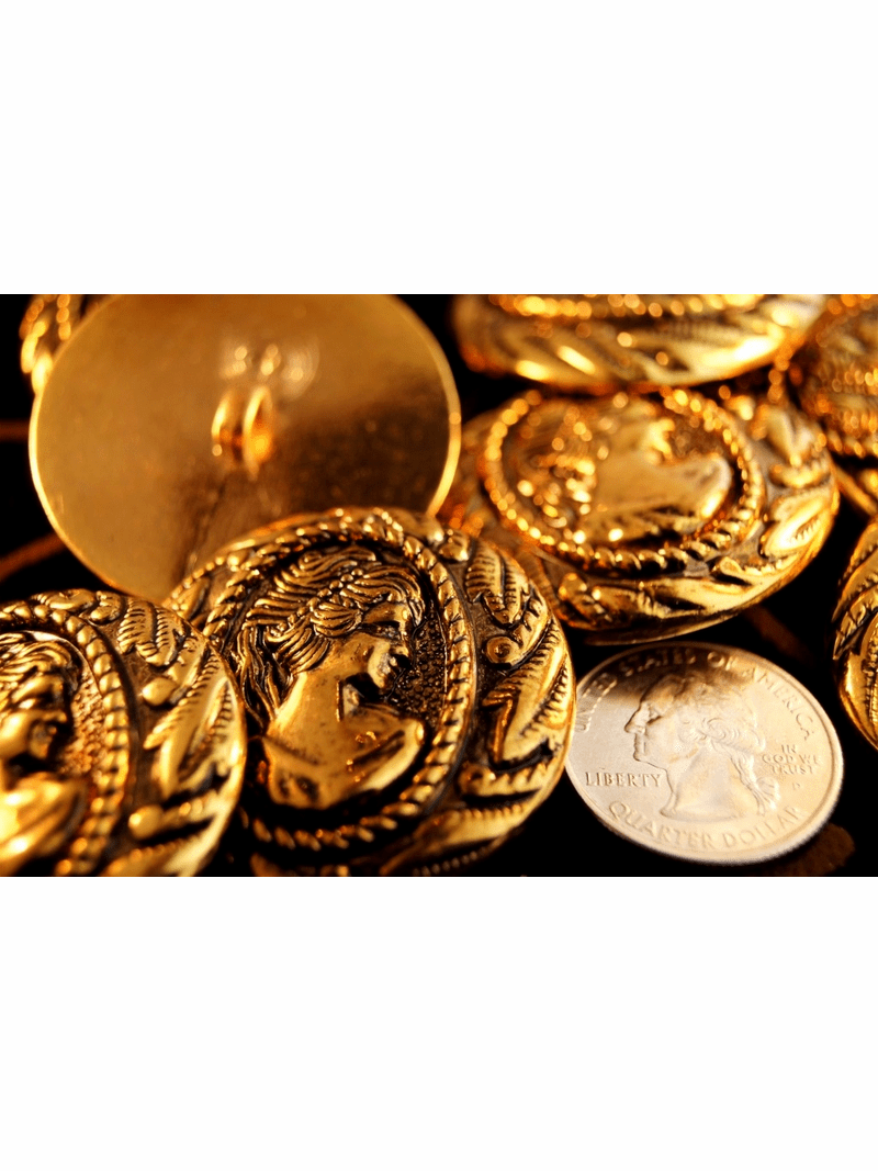 """Embossed Queen Head Copper Gold Vintage Shank Buttons 1 5/8"""" (6 pcs)"""