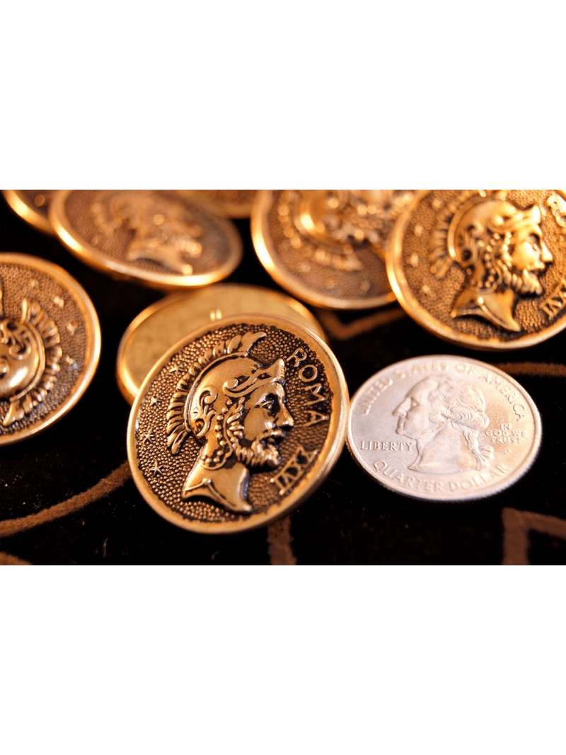 """Embossed Vintage Gold Metal Shank Buttons 1 1/8"""" inch (6 pcs)"""