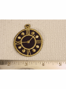 Embroidered Metallic Gold Roman Old Clock Watch Applique Patch