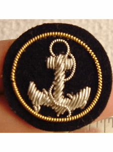 Embroidered Silver Anchor Bullion Crest Patches