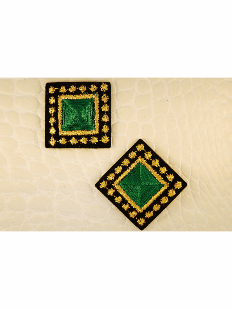 Emerald Gold Metallic Black Square Iron-On Patch Applique #appliques-16