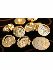 """Fashion Plastic Gold Shank Buttons 3/4"""" inch (15 pcs)"""