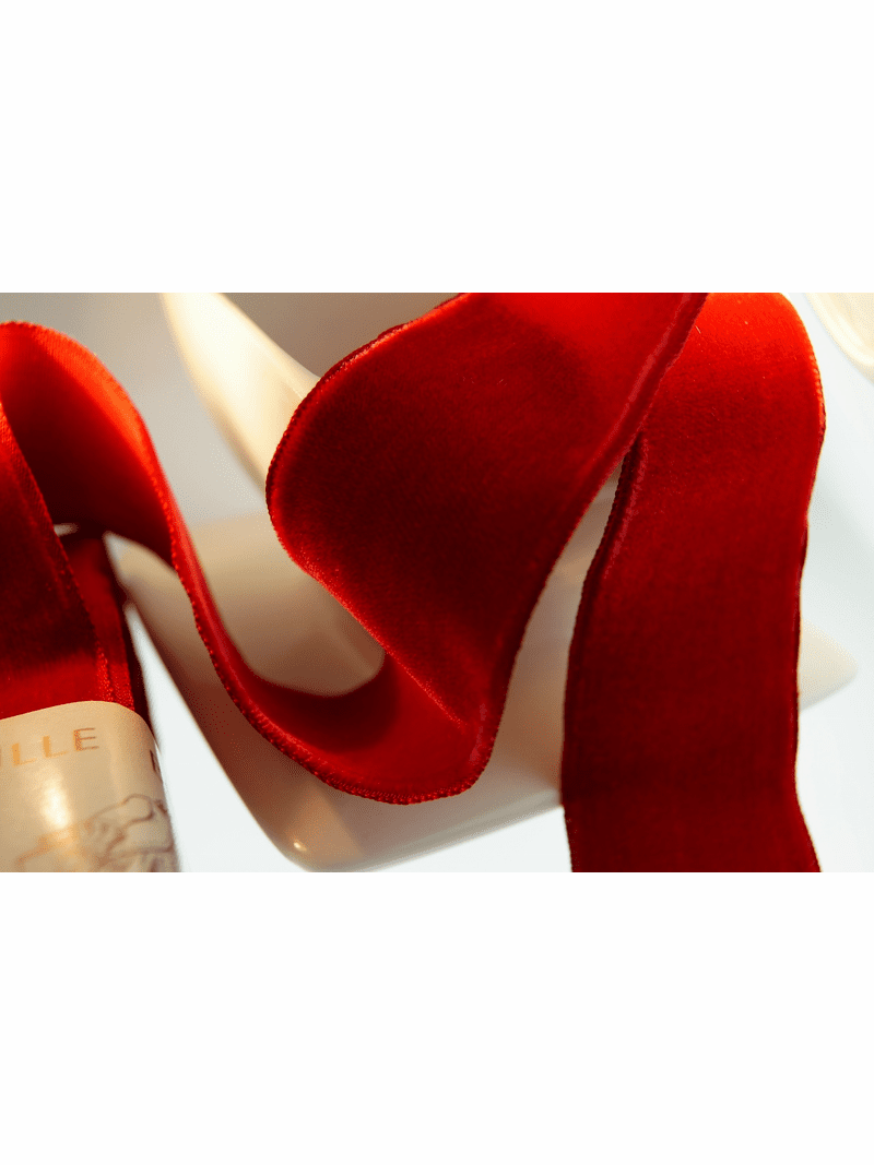 French Red Velvet Ribbon 36mm