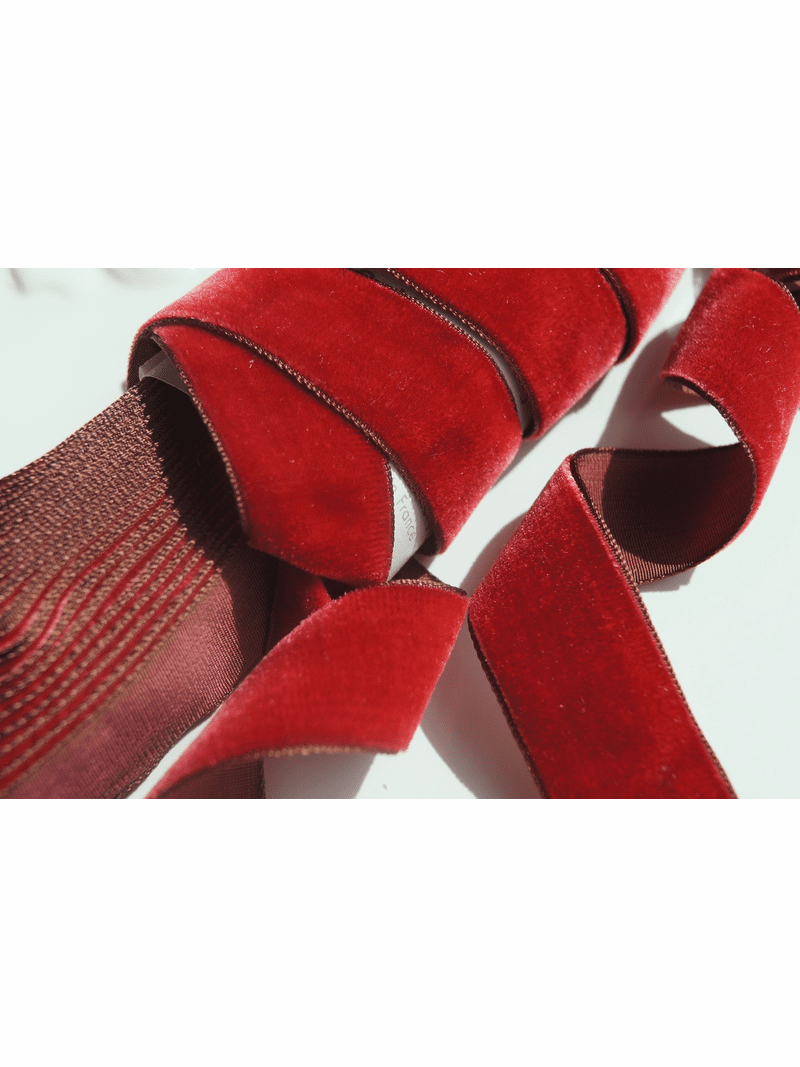 French Ruby Red Velvet Ribbon 24mm