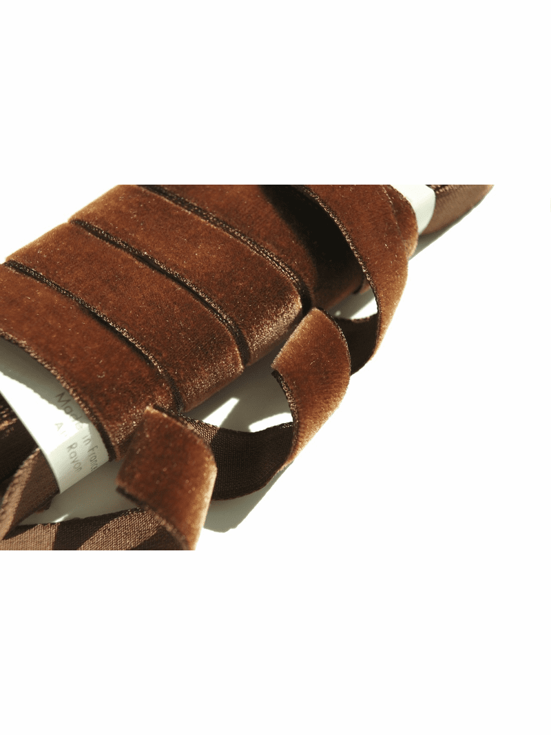 French Velvet Ribbon Antique Brown 16mm