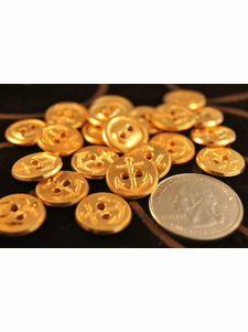 """Gold Anchor Vintage 2 Hole Metal Buttons 1/2"""" inch (12 pcs)"""