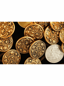"""Gold Embossed Metal Shank Buttons 7/8"""" inch (8 pcs)"""