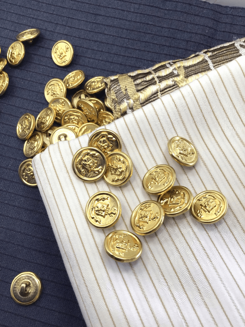 "Gold Embossed Vintage Shank 5/8"" (15mm) 24L Metal Crest Buttons #1045"