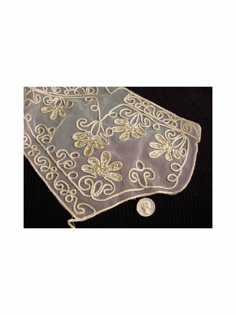 Gold Embroidery Vintage Lace Collar Applique  #AP-249