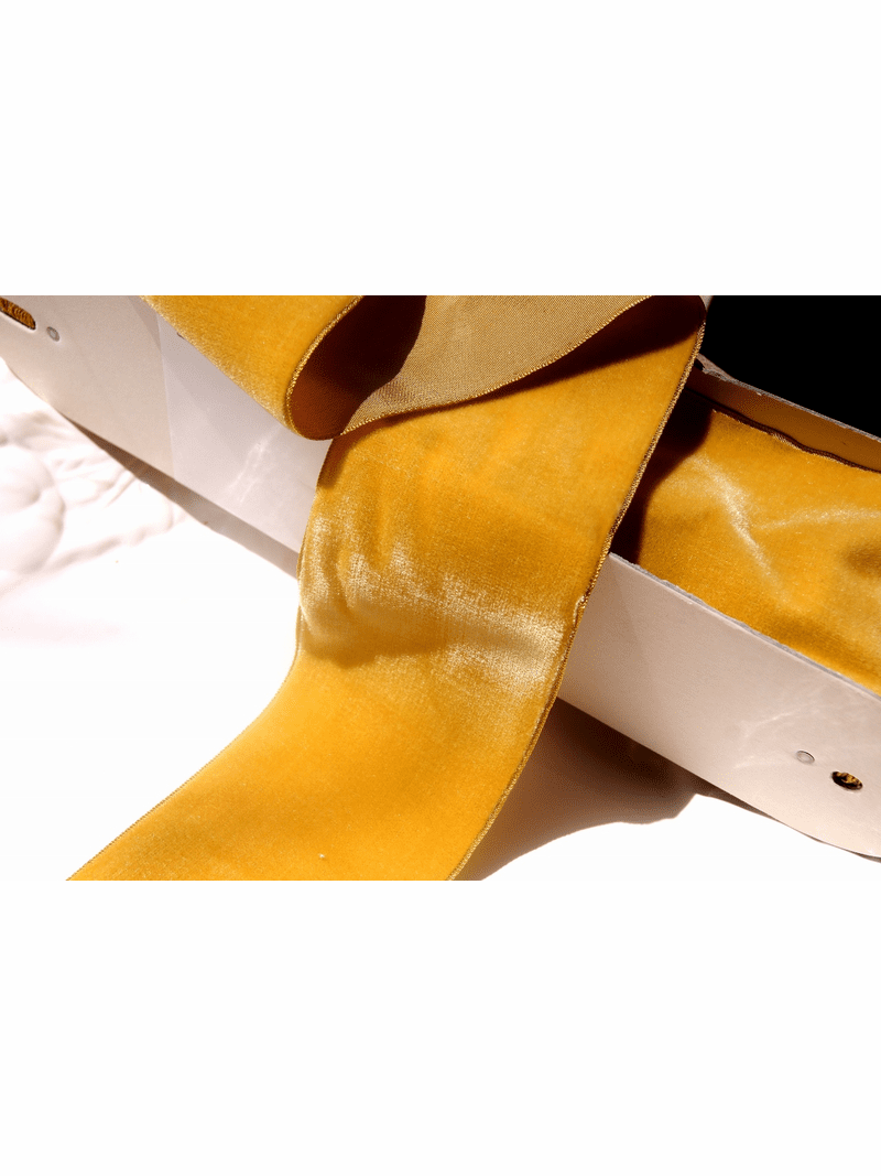 Gold French Ribbon Wide Velvet Fabric Trim 72mm