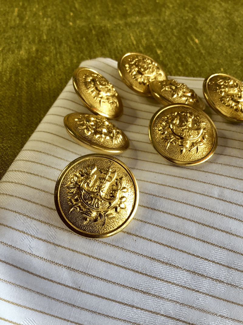 "Gold Metal Crest Button 1"" (25mm) 40L Vintage Blazer Buttons #830"