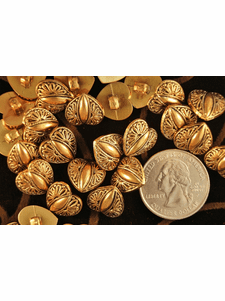 """Gold Metal Heart Shank Vintage Buttons 3/16"""" inch (12 pcs)"""