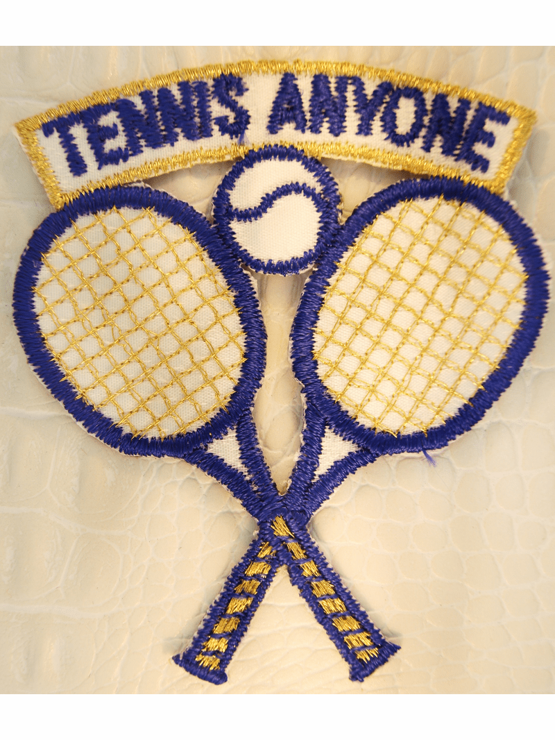 Gold Metallic White Navy Tennis Rackets Iron-On Applique #appliques-26