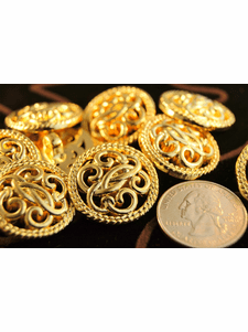 """Gold Shank Vintage Fashion Buttons 1"""" inch (8 pcs)"""