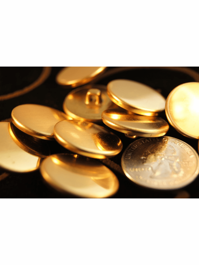 """Gold Vintage Shank Metal Buttons ÷ 1"""" inch (10 pcs)"""
