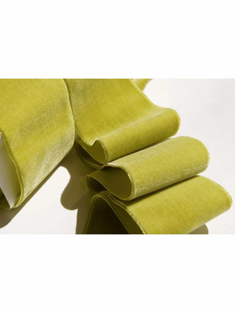 Golden Lime French Velvet Fabric Ribbon Trim 50mm