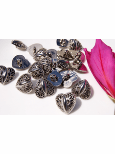 """Heart Silver Shank Vintage Buttons 11/16"""" inch (10 pcs)"""