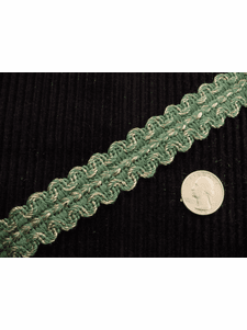 Hunter Green Gold Braid Trim Made in Italy Vintage Braided Upholstery Trim
