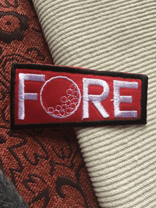 Iron-on Fore Golf Ball Red Black Decorative Vintage Applique Patch #5081