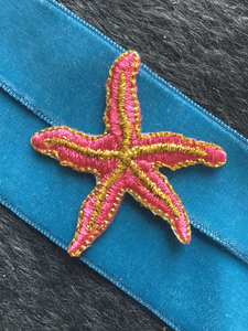 Iron-on Vintage Metallic Gold Pink Starfish Embroidered Decorative Patches #5090