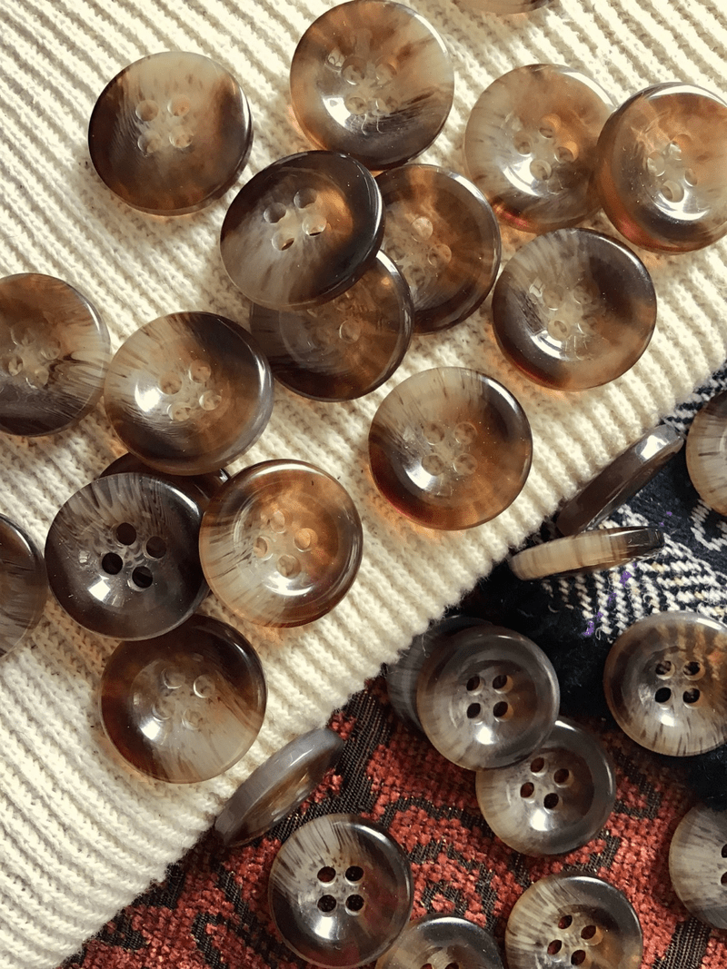 """Italian 4 Hole Amber Brown Clear Button 3/4"""" (19mm) 30L Vintage Shank Buttons #695"""