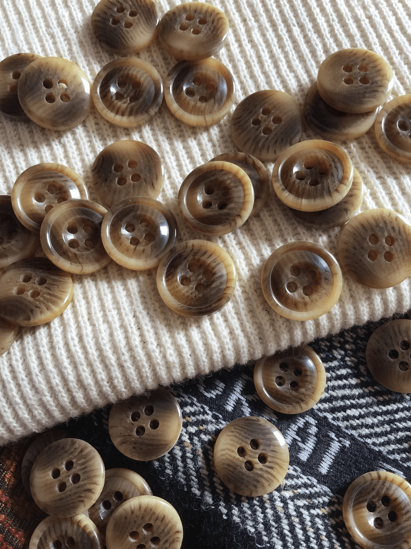 """Italian 4 Hole Brown Beige Tan Small Button 5/8"""" (15mm) 24L Sewing Buttons #681"""