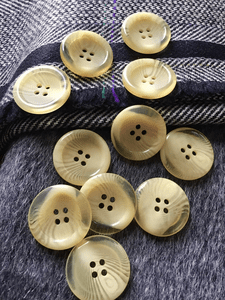 """Italian 4 Hole Cream Clear Button 1"""" (25mm) 40L Sewing Buttons #720"""