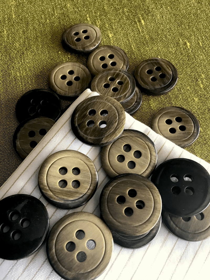 "Italian 4 Hole Wood Brown Button 1-1/8"" (28mm) 44L Vintage Buttons #727"
