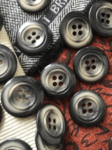 """Italian Ash Grey 4 Hole Button 1-3/8"""" (34mm) 54L Large Buttons #672"""
