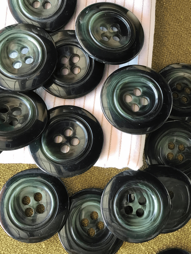 """Italian Black Dark Green 4 Hole Large Button 1-3/8"""" (34mm) 54L Vintage Buttons #758"""