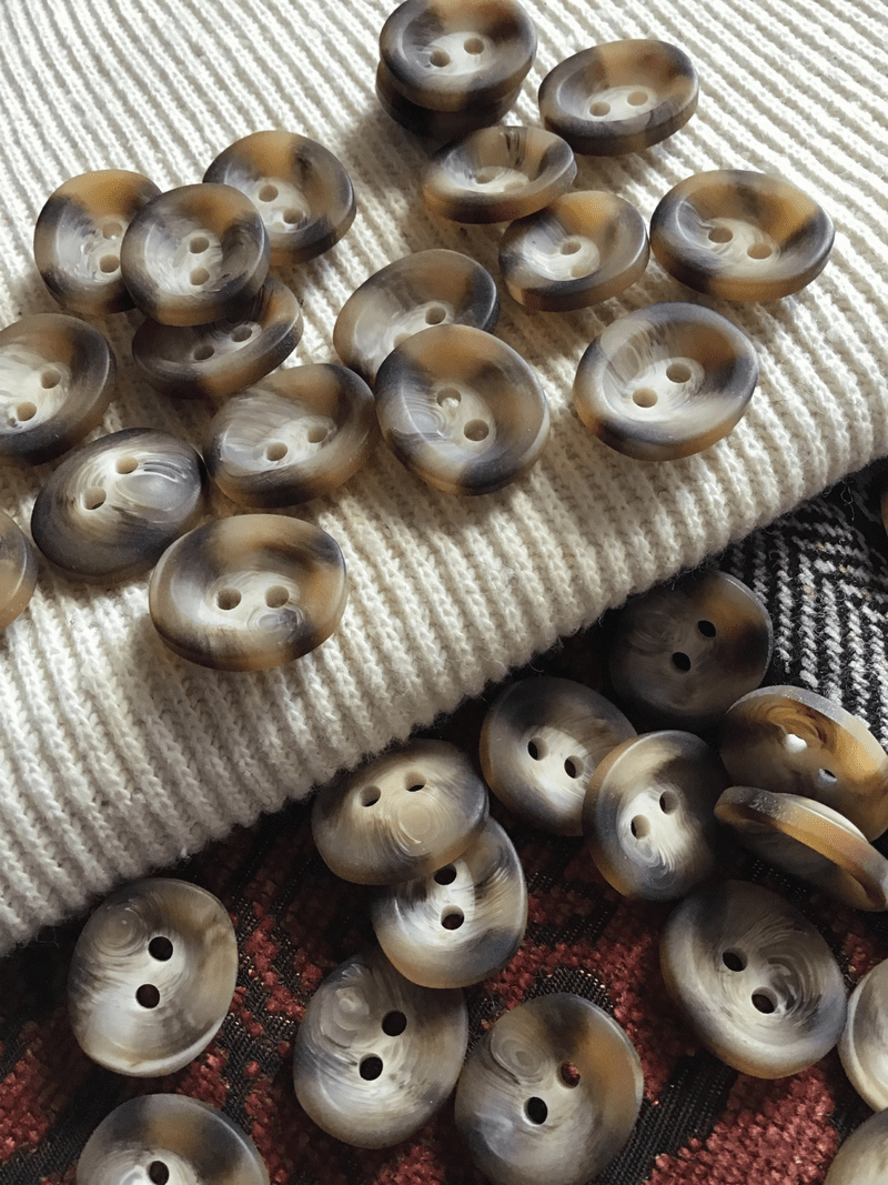 """Italian Brown Mixed White 2 Hole Button 3/4"""" x 5/8"""" (19mm x 15mm) Sewing Buttons #712"""