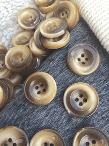 """Italian Ginger Brown Textured 4 Hole Buttons 13/16"""" (20mm) 32L Vintage Sewing Button #1093"""