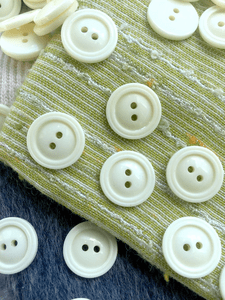 "Italian Ivory 2 Hole Vintage Buttons 11/16"" (18mm) 28L Sewing Buttons #1104"