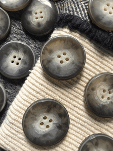 """Italian Mink Gray 4 Hole 1-1/8"""" (28mm) 44L Vintage Buttons #513"""