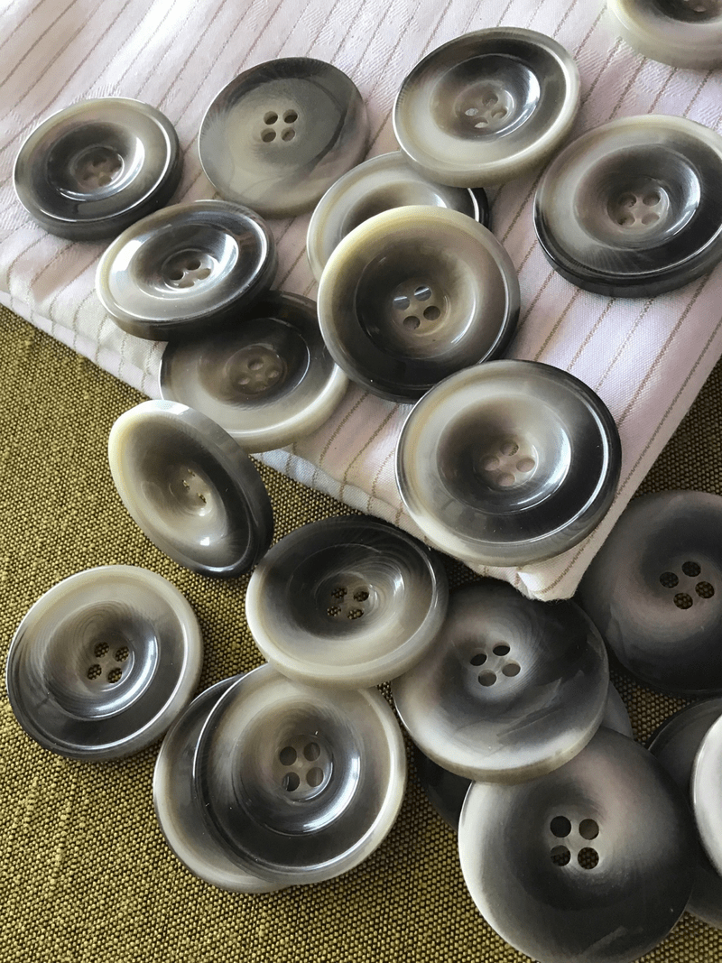 """Italian Stormy Grey 4 Hole Button 1-1/8"""" (28mm) 44L Vintage Buttons #776"""