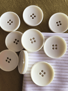 """Italian Vintage White 4 Hole Big Button 1-1/2"""" (38mm) 60L Large White Sewing Buttons #791"""