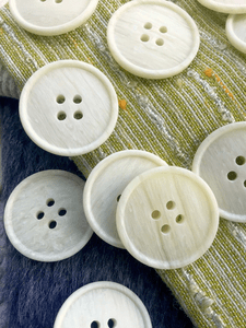 """Italian White Onyx Texture 4 Hole Buttons 1"""" (25mm) 40L Vintage Sewing Button #1088"""
