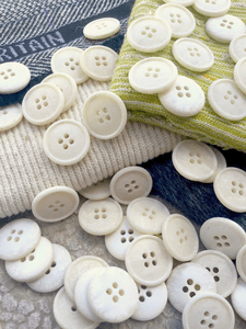"""Italian White Onyx Texture 4 Hole Buttons 3/4"""" (19mm) 30L Vintage Sewing Button #1087"""
