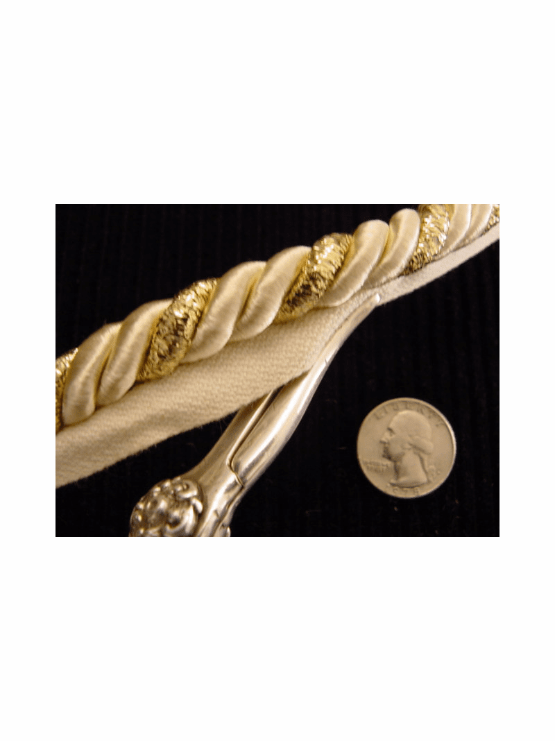 Ivory Gold Metallic Twisted Cord Trim with Lip