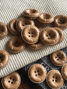 """Japan Fashion Leather Look Camel Tan 4 Hole Button 1"""" (25mm) 40L Sewing Buttons #664"""