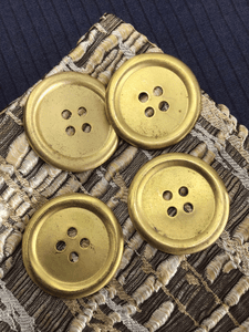 "Large 4 Hole 1-1/2"" (38mm) 60L Vintage Gold Metal Buttons #991"