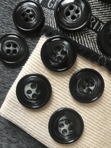 Clear Plastic Bowl Button with Black Italian 4-Hole 21mm Wide